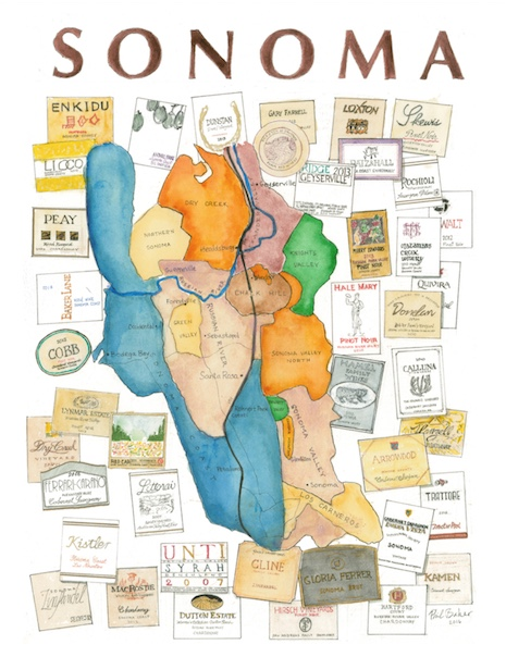 Sonoma Wine Art Map For Fire Relief Fund Baker On Tech